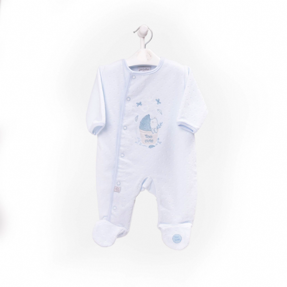 "AV2418 ""Too Cute"" embossed velour boys  onesie"